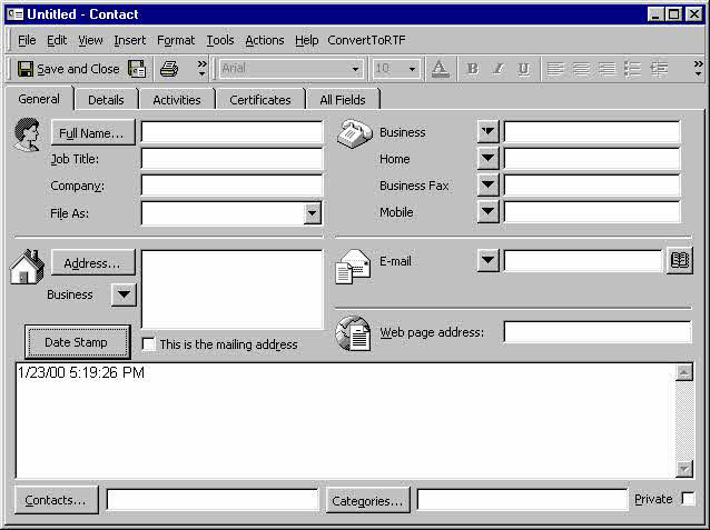 outlook 2007 template shortcut - how to insert the date and time into an outlook item
