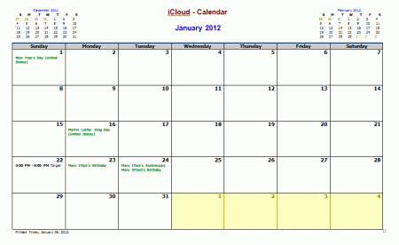 A calendar using the default options