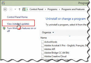 Click View Installed Updates to find and remove the updates