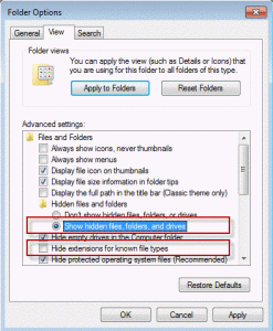 Show hidden files and folders in Windows