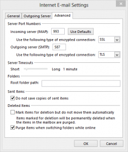 More Settings Dialog in Outlook 2013 IMAP accounts